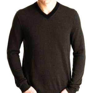 Vince Classic Contrast Double V-neck Sweater L
